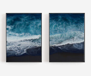 Great Home Deco A3 A2 A1 Set of 2 Aerial Beach /& Ocean Matching Wall Art Prints