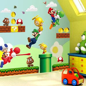 Super Mario Bros Mural Wall Decals Sticker Kids Room Decor - Wall decals kids room