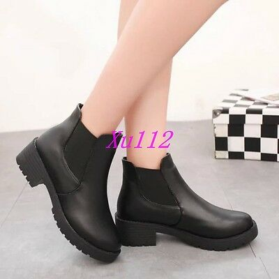 Ladies Round Toe Casual Punk Motorcycle Mid Heel Ankle Boots Block Pull On Shoes