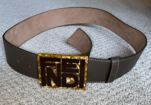 FENDI Gold/Brown Leather Belt 8C0347