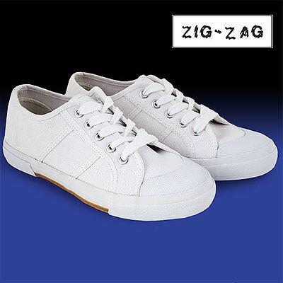 Zig-Zag White Lace Up Canvas Shoes - Women's 8.5
