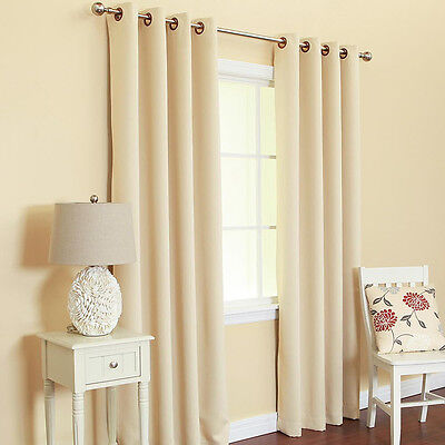 "2 PANELS FAUX SILK BLACKOUT BEIGE  grommet window curtain 63"" LENGTH  K32"