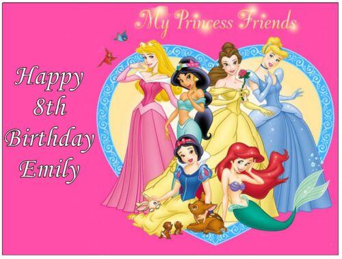 """Disney Princess A4 Personnalisé cake topper Gaufrette Comestibles Papier 7,5 /""""par 10/"""""""