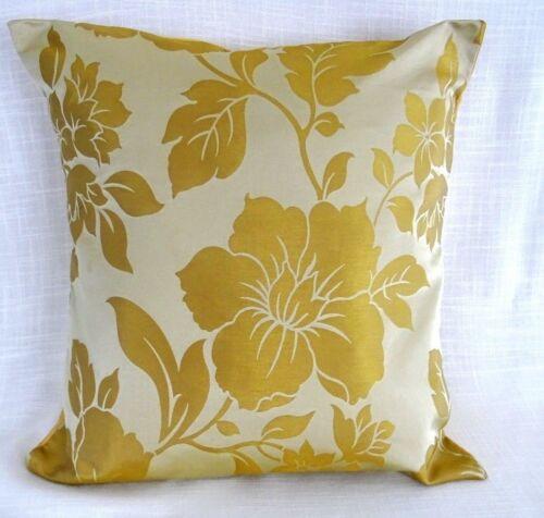 """LUXE élégant or Jaune Floral Housses De Coussin Qualité Tissu 40 cm 16/"""" BN"""