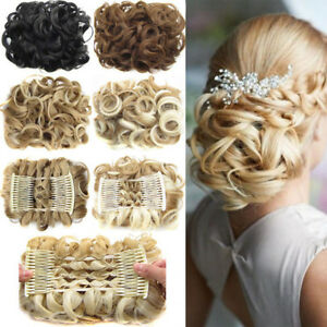 Comb-Easy-Clip-In-Hair-Ponytail-Extensions-Hair-Bun-Synthetic-Hair-Chignon