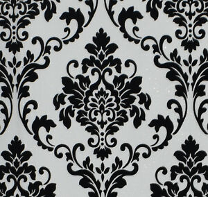 Details About Exclusive Cashmere Flock Velvet Black White Glitter Damask Wallpaper J702