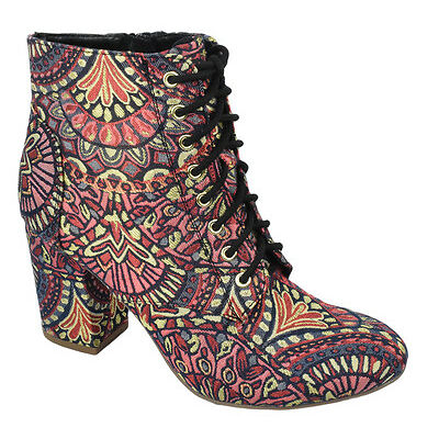 Delicious Women Ankle Boot Chunky Heels Print Booties Lace Up Zipper Floral EZRA
