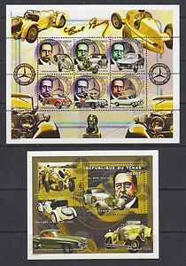 Chad-Sc-847-848-MNH-2000-Mercedes-Benz-Automobile-History-cplt-set-of-2-sheets