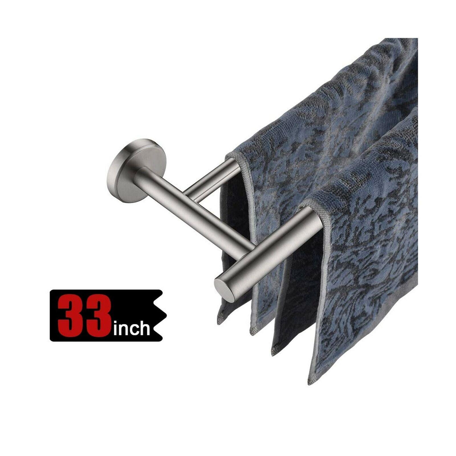 Modern Style LuckIn 24-Inch Rustproof Brushed Nickel Wall-Mounted Towel Bar 30