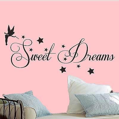 sweet dreams wall art quote vinyl transfer stars sticker Mural Decor tinkerbell