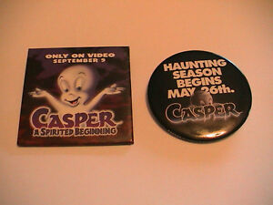TWO-CASPER-THE-FRIENDLY-GHOST-CARTOON-MOVIE-PREMIER-PINS-PINBACKS-1995-amp-1997