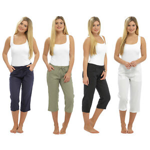 new release authentic quite nice Details about LADIES WOMEN LINEN 3 QUARTER PANTS CROPPED TROUSER 3/4  RELAXED FIT SUMMER SHORTS