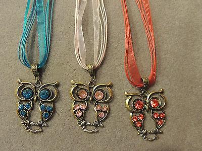 große Augen Strass Kette Collier necklace Eule Uhu Owl versilbert rhodiniert