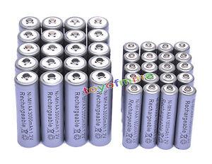 20-AA-3000mAh-20-AAA-1800mAh-1-2V-NI-MH-Rechargeable-Battery-2A-3A-Grey-Cell