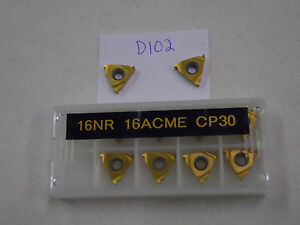 10-NEW-SECO-16NR-16ACME-THREADING-CARBIDE-INSERTS-GRADE-P30-D102