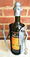 Wine Caddy Mountain Snow Skier With Poles Metal Sports Bar Accessory