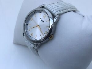 Timex Ladies Watch White Genuine Leather Band Water Resistant 30M Analog Watch