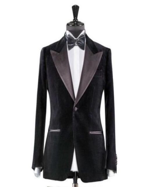 42e190500 Men Black Velvet Jacket Blazer Coat DESIGNER Grooms Wedding Tuxedo Party  Wear