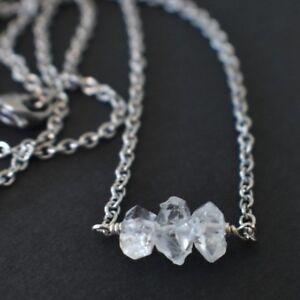 Herkimer-Diamond-Gemstone-Bar-Pendant-Necklace-Natural-Quartz-Dainty-Minimalist