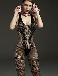 153c7db5ba6 Image is loading fishnet-bodystocking-Sexy-Lingerie-Bodysuit -garters-Crotchless-tight-