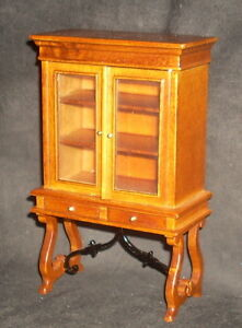 Spanish Style Display Cabinet Walnut 1:12 Miniature Furniture J01127WN Mexican