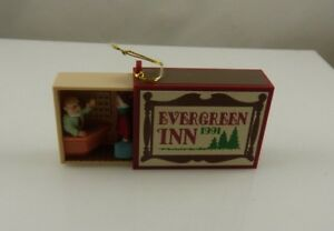 Hallmark-keepsake-evergreen-inn-matchbox-match-box-Christmas-ornament-xmas-1991