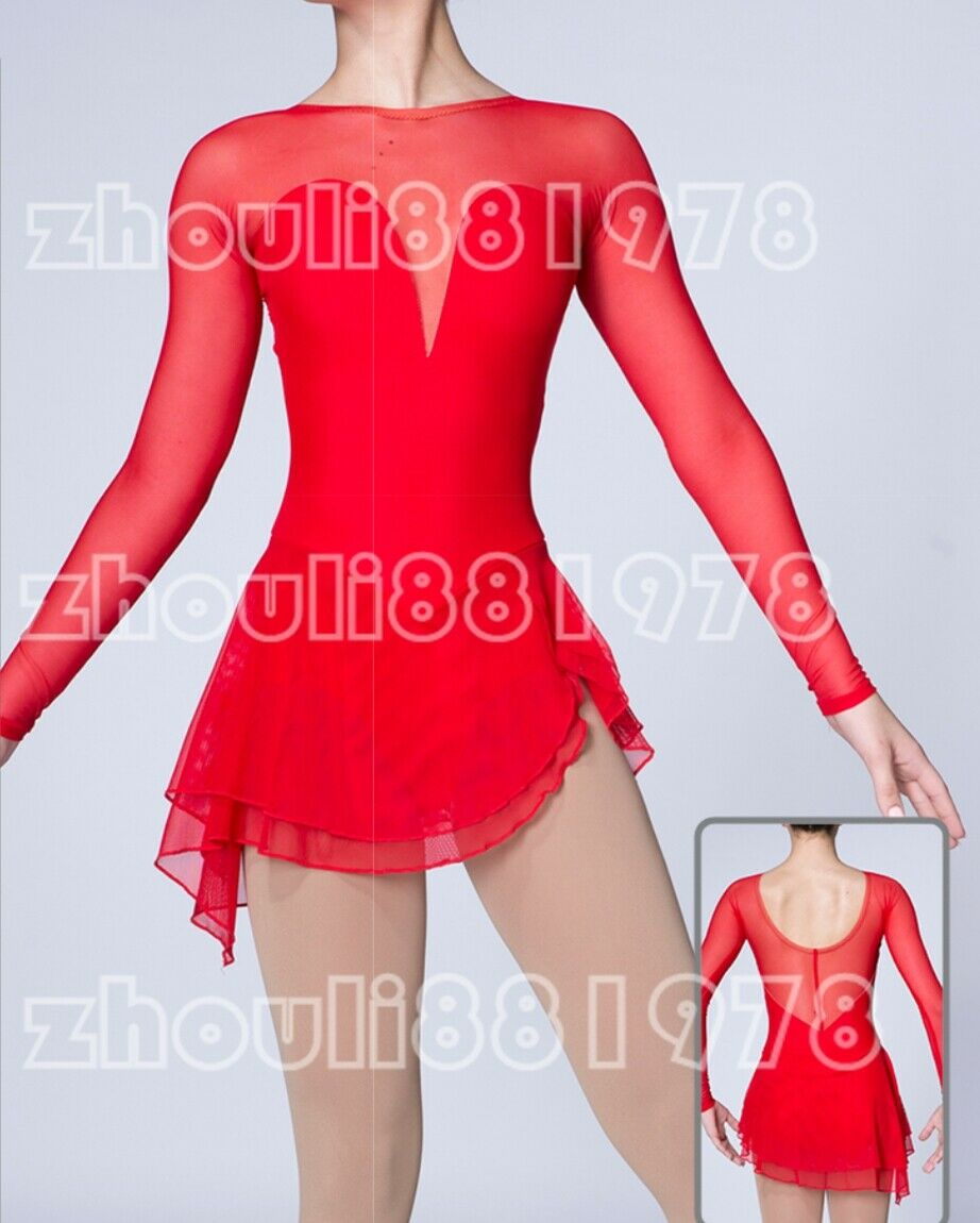 Ice Skating Dress Deep  V Spandex Professional Competition Skating Wear red  sales online