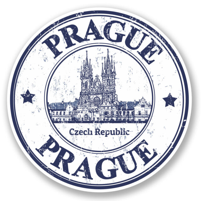 2 x Prague Czech Republic Vinyl Sticker Decal iPad Travel Luggage Tag Gift #4796