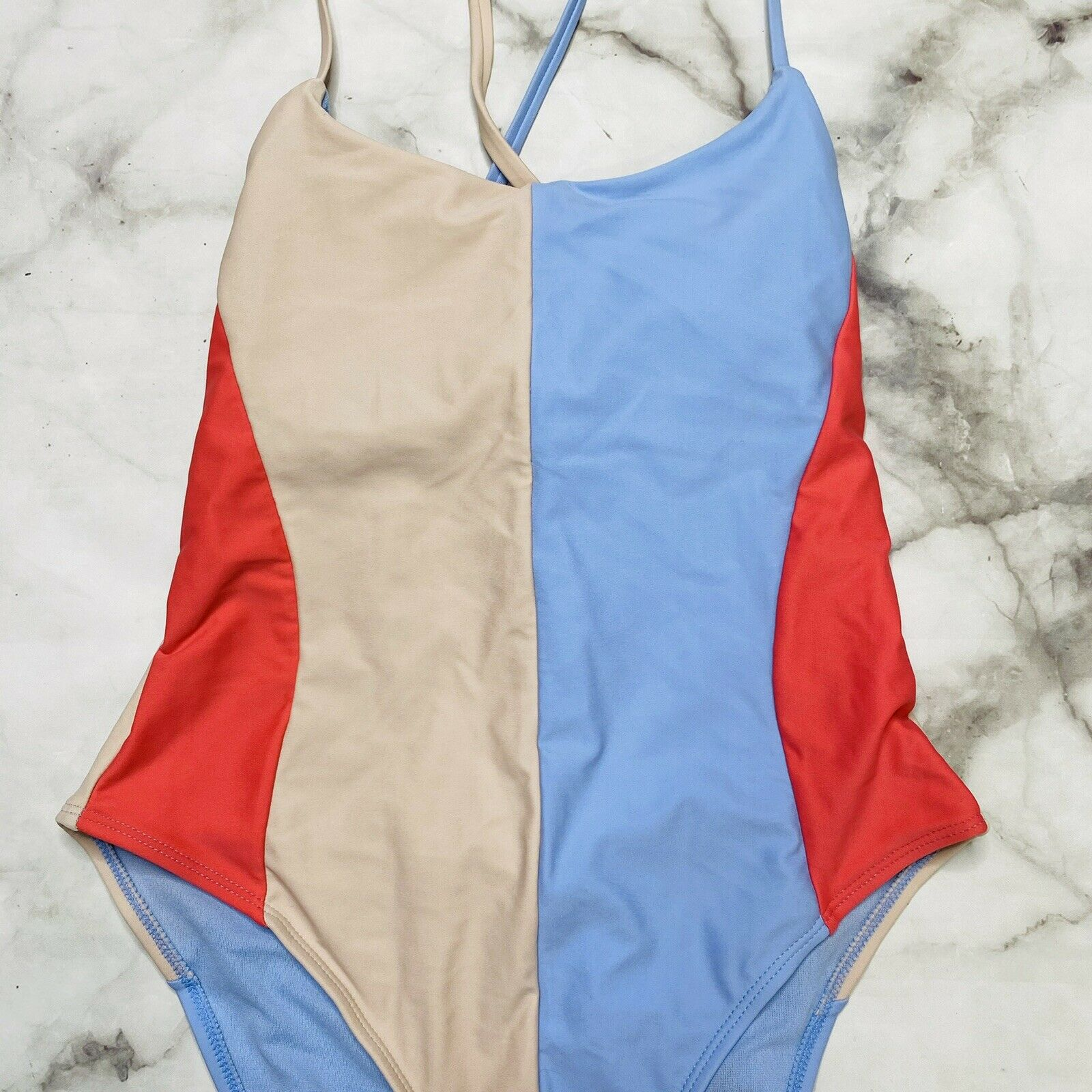 Hula Honey Colorblocked High-Leg Strappy Back One-Piece Multi Swimsuit Pick Size