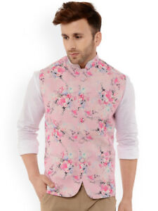 20765a4ed Image is loading Mens-Nehru-Jacket-Pink-Printed-Partywear-Indian-Waistcoat-