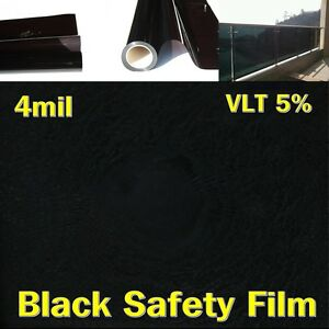 "WIDE:40""(100CM)VLT5%/Safety 4Mil Black Film/Window/Security/Residential/UV/ROLL"