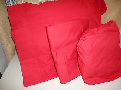 DILLARD'S NOBILITY TRUE RED (3PC) TWIN SHEET SET