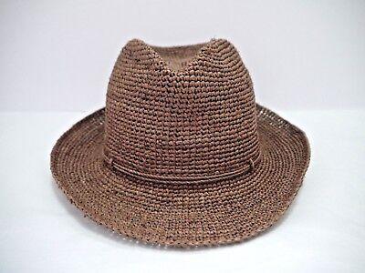 f17797fb8 NEW HELEN KAMINSKI Fai brown crochet raffia fedora hat | eBay