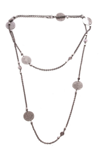 Zx234 Minimalist /& Chic Rustic Chrome Circle Embellished Metal Chain Necklace