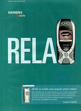 Publicité 2003  Téléphone mobile SIEMENS MC 60 avec appareil photo intégré