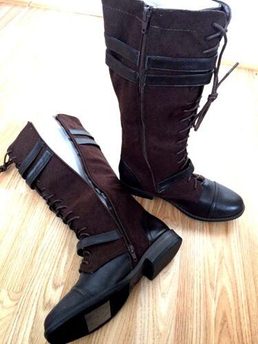 Women Denim Knee High Zip Lace Buckle polaire pour long Low Flat Heel Boot Size