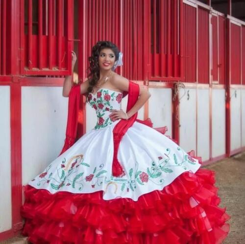 Sweetheart Embroidery Red and White Quinceanera Dresses Sweet 16 Dress Mexican