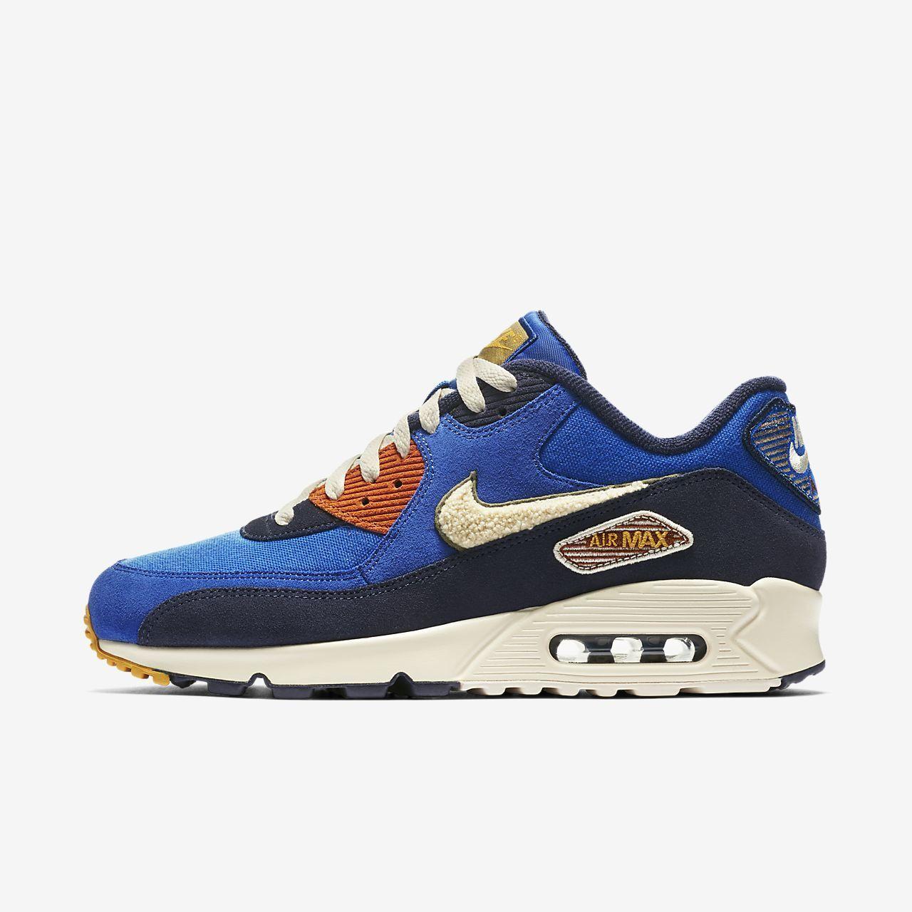 Nike Air Max 90 Premium SE Jeu Chenille Swoosh Jeu Bleu Royal Vert 858954 400