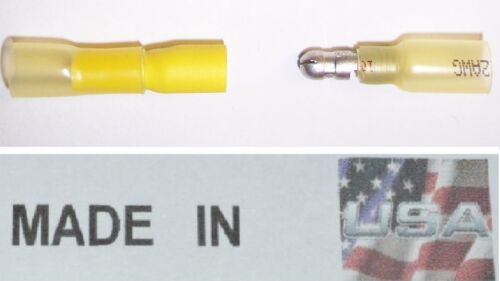 YELLOW 12-10 3M HEAT SHRINK BULLET CONNECTOR MALE 20 FEMALE QUICK CONNECT