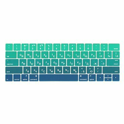 Us Version English Silicone Keyboard Cover for MacBook Air 13 2019 2018 A1932 with Touch Id Gradient Colorful Keyboard Film-Gradient Green
