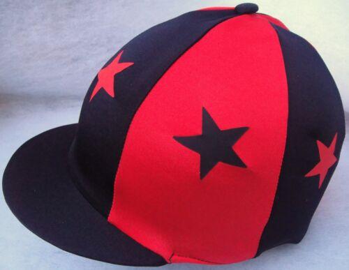 Lycra Équitation Chapeau soie tête Cap couverture noir /& rouge avec ou sans pompon étoiles
