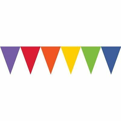 Rainbow Pride Coloured Paper Party Flag Pennant Banner 4.5m Bunting Decoration