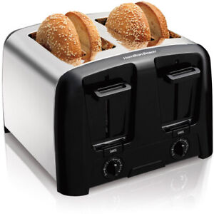Chrome-4-Slice-Bagel-Toaster-Extra-Wide-Slots-Toast-Shade-Selector-Auto-Shut-Off