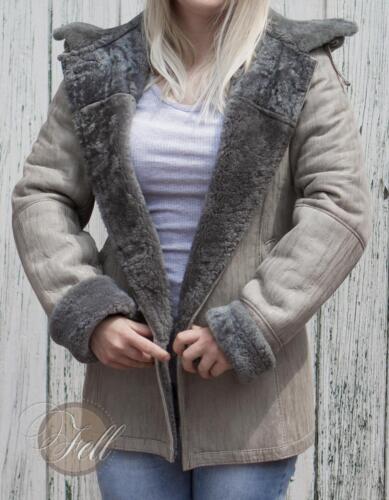 36 abnehmbare Kapuze Lammfell Jacke Lammfelljacke Damen Grau Gr