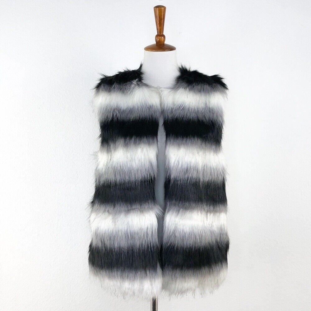 Jealous Tomato Black White Stripe Faux Fur Vest sz L