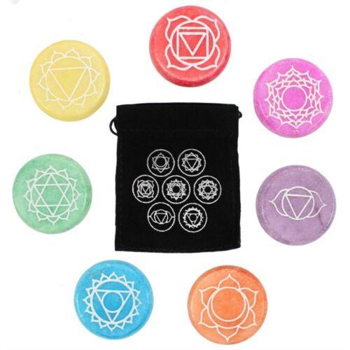 CHAKRA MEDITATION Engraved STONES Medallions HEALING Crystals REIKI YOGA Gift