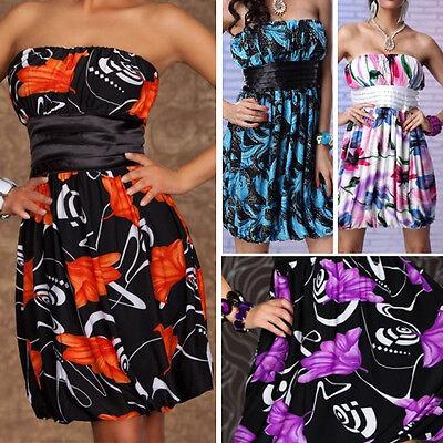 Strapless Party Evening Cocktail Clubbing Mini Dress Floral Empire Waist M-XL US