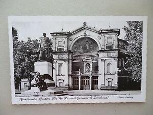 Ansichtskarte-Karlsruhe-Baden-Festhalle-Bismarck-Denkmal