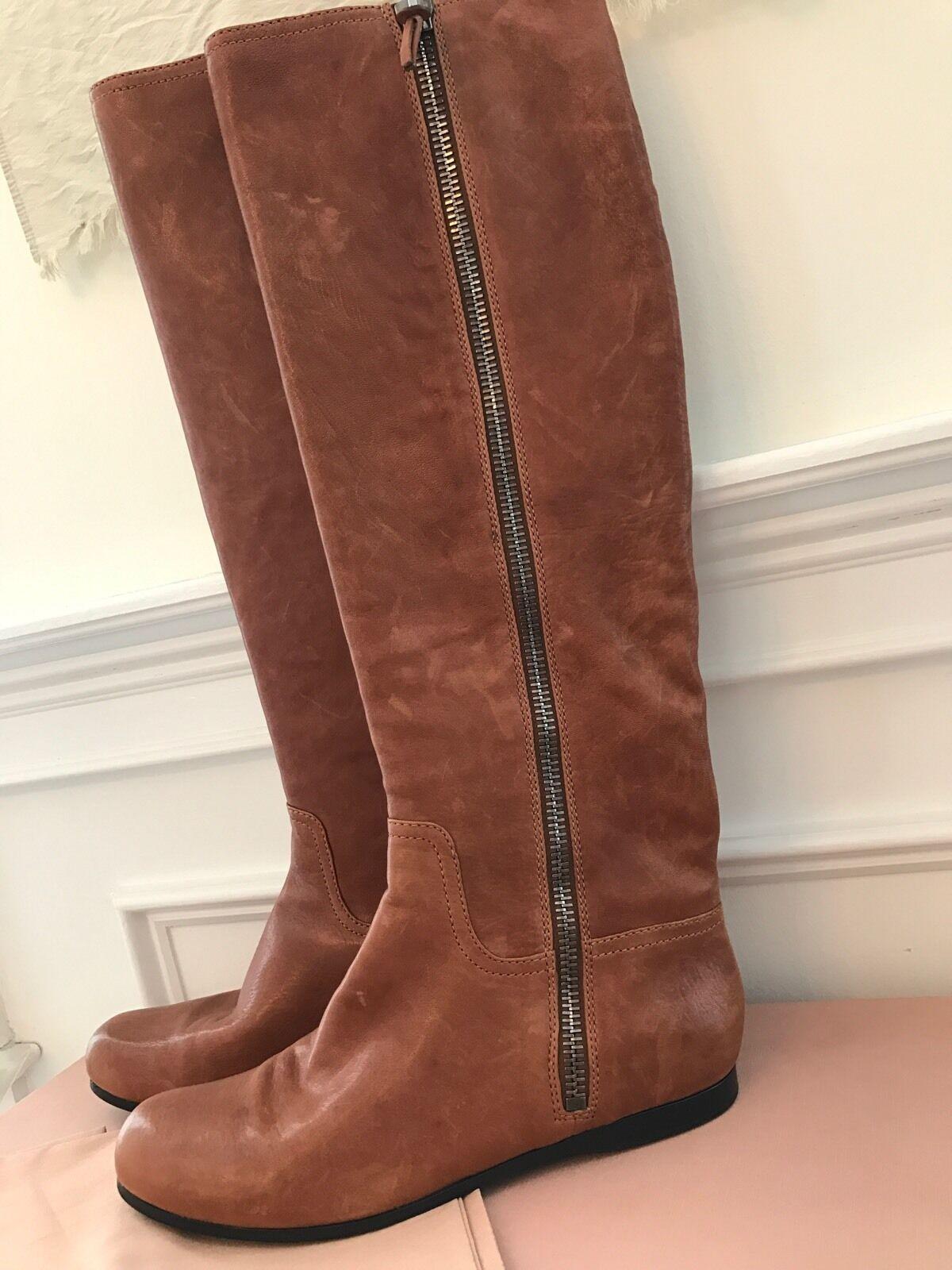 consegna gratuita e veloce disponibile Miu Miu Miu Miu stivali Tall Leather Riding stivali Calzature Donna 10 10.5 40.5 NIB  950  autorizzazione ufficiale