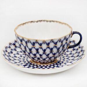 Authentic-Imperial-Porcelain-Cobalt-Net-Tea-cup-Saucer-Lomonosov-LFZ-8-5-fl-oz